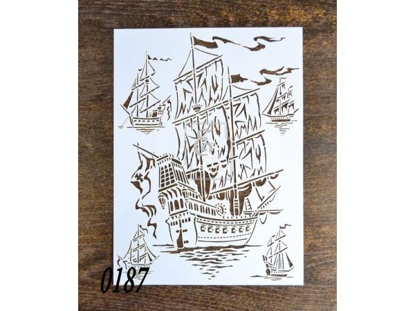 """Тематический трафарет """"Летучий Голландец"""" для скрапбукинга, декупажа и росписи"""